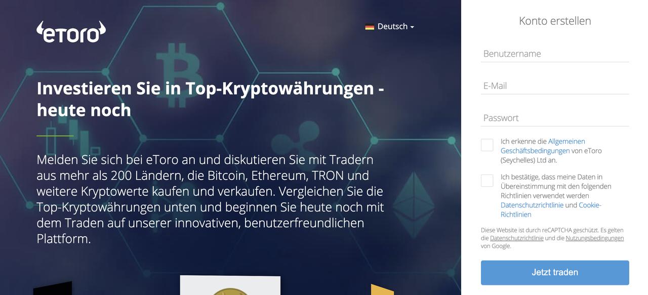 Bitcoin Börsen eToro