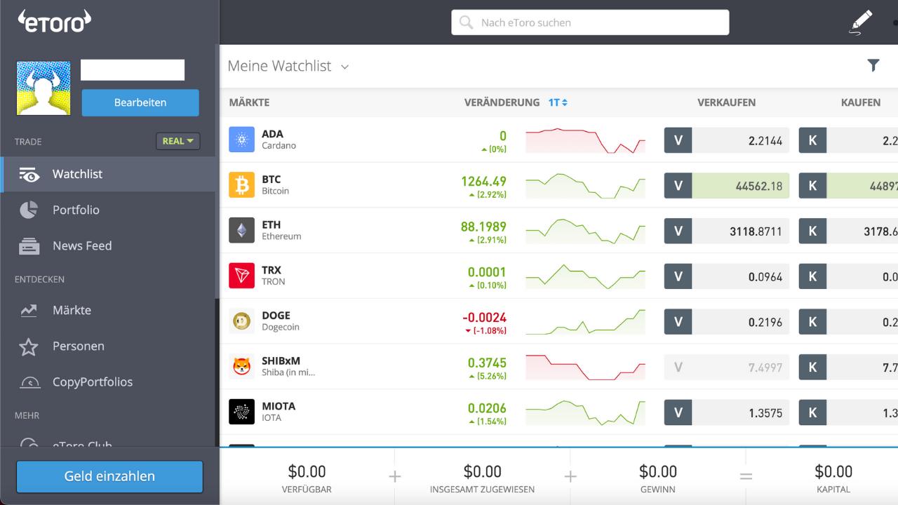 Bitcoin Börsen eToro Dashboard