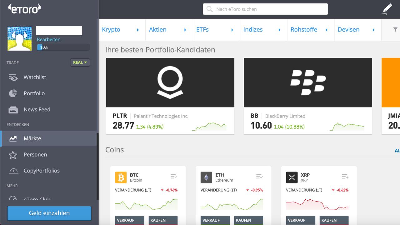 Bitcoin Börsen eToro Märkte
