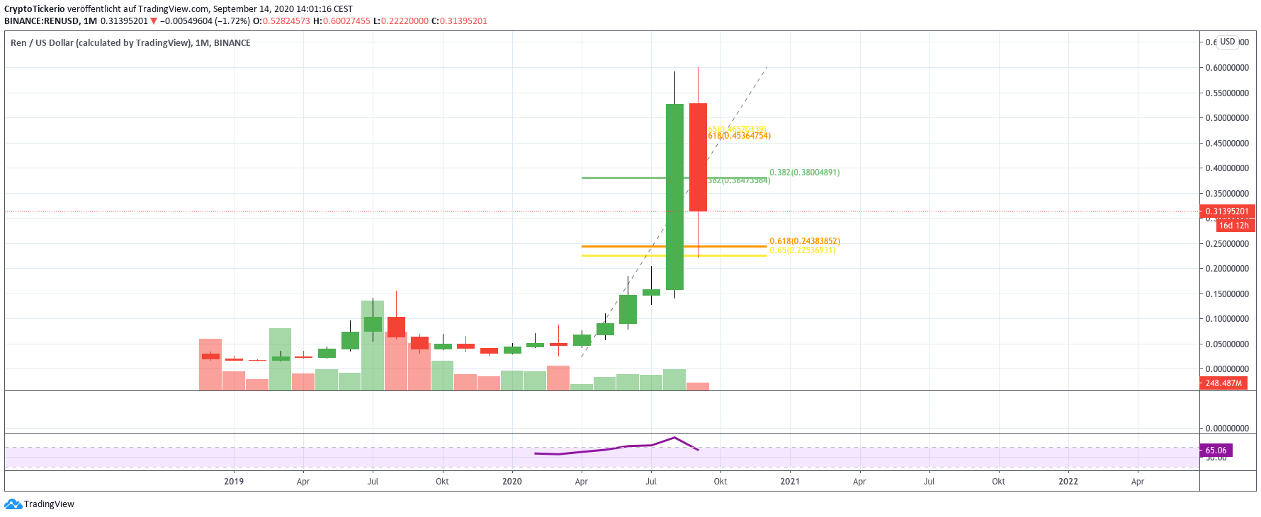 REN/USD monthly price chart