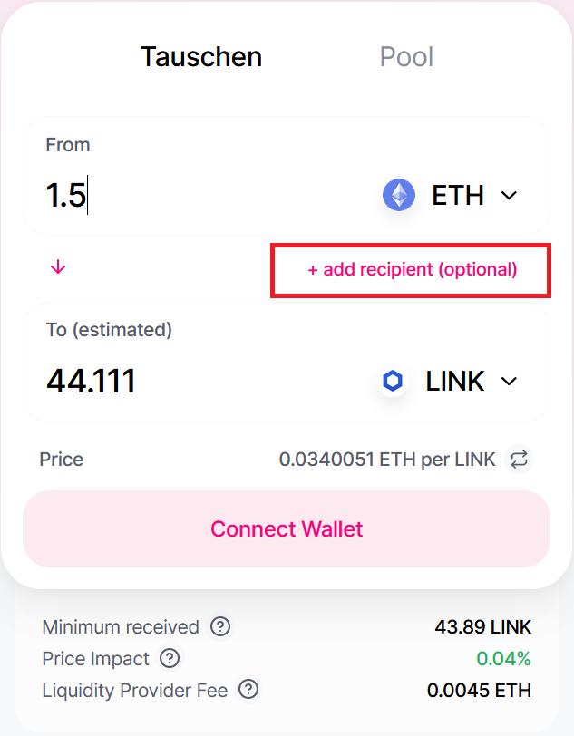 Uniswap input form for coin exchange DEX