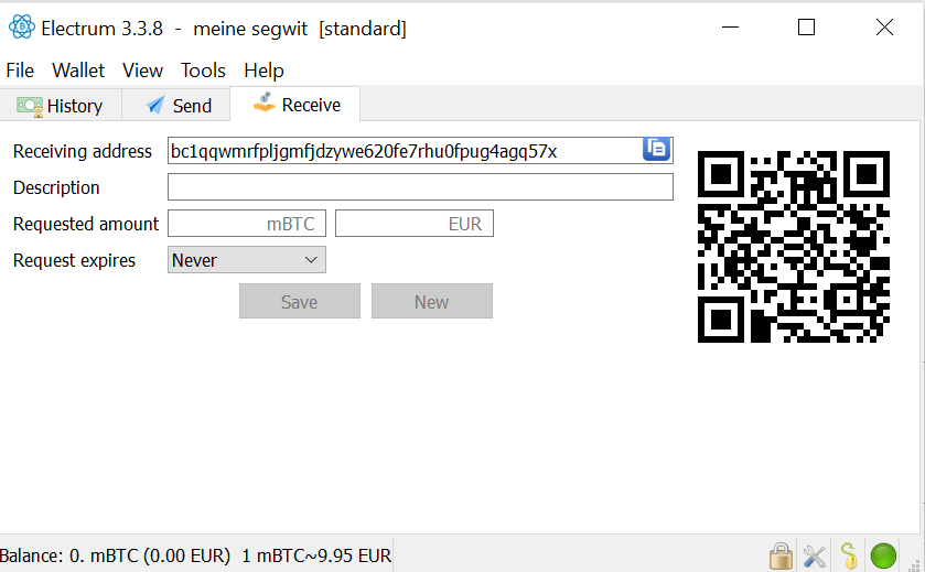 Bitcoin: Electrum Empfangsadresse