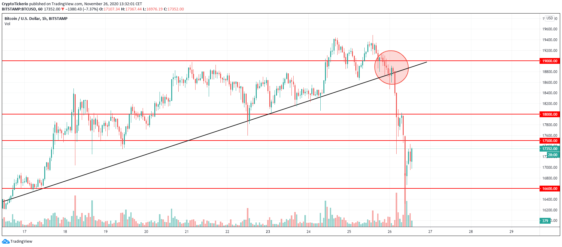 BTC/USD 1-Hour chart showing important support levels