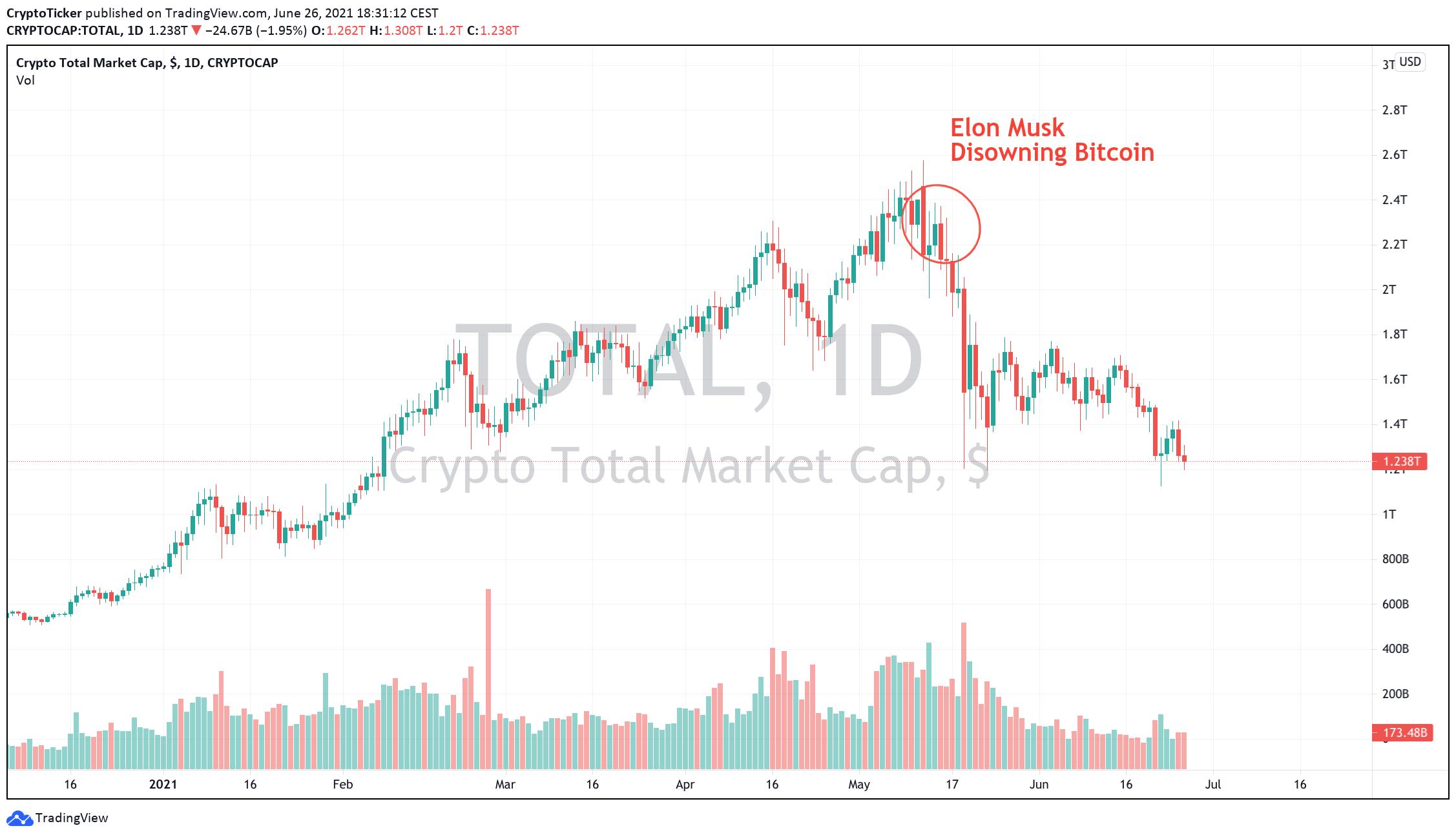 Elon Musk Crypto - Total Crypto Market cap post Elon disowning Bitcoins