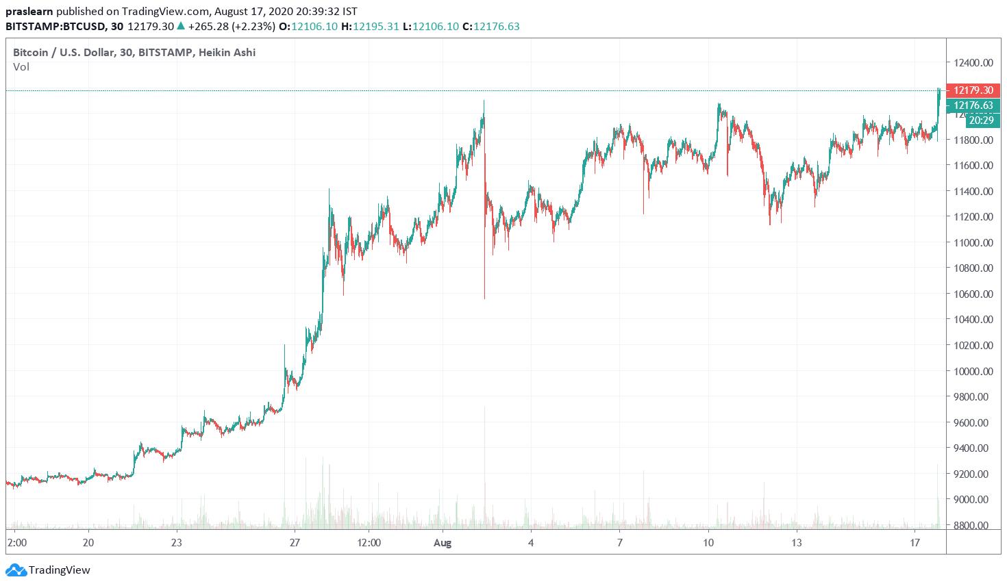 BTC Price Analysis 1 Month Chart