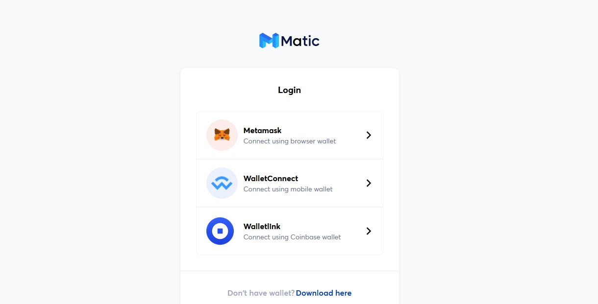 MetaMask Connection - Polygon Matic L2 Wallet