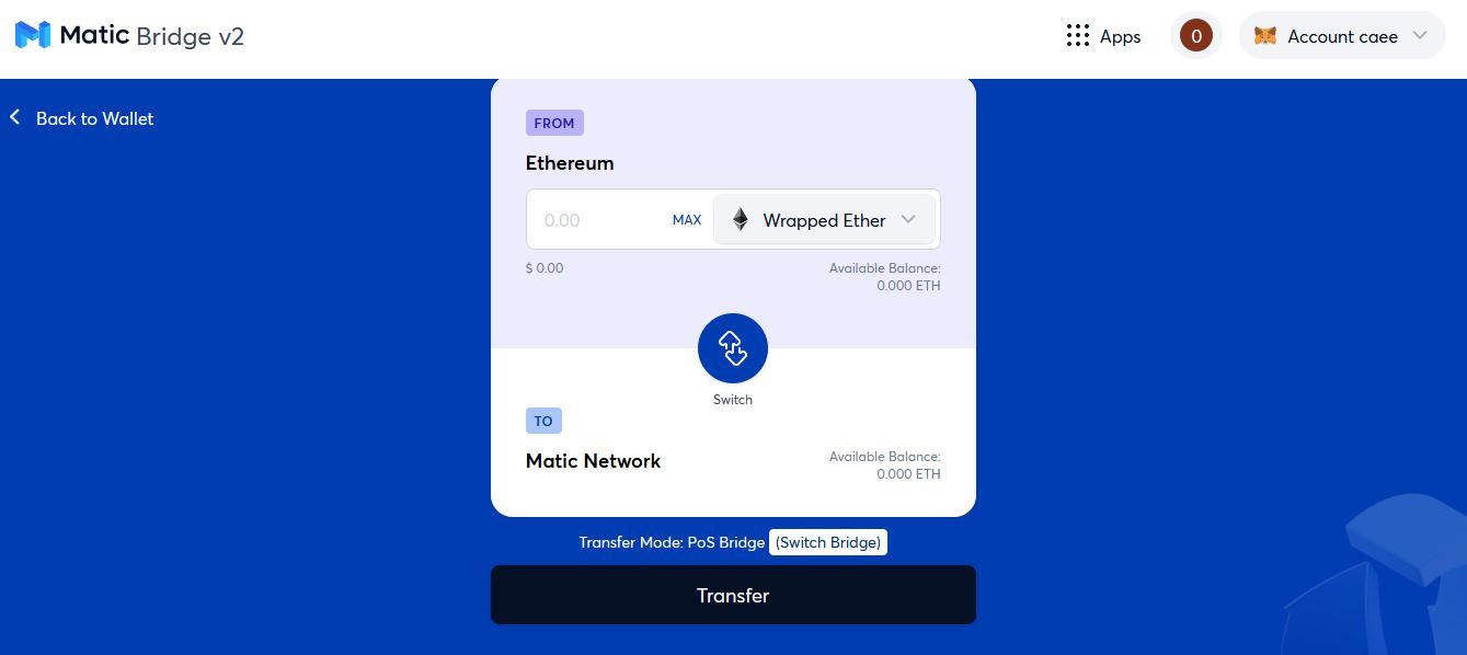 Transfer Interface – Polygon Matic Wallet