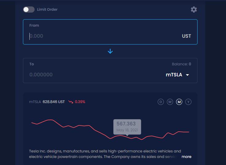 Trading Interface - Mirror Protocol
