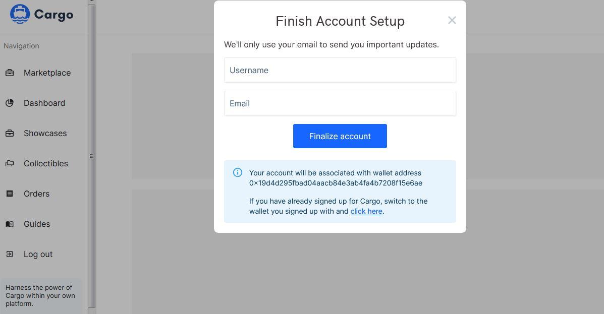 Cargo - Finish Account Setup how to mint nfts