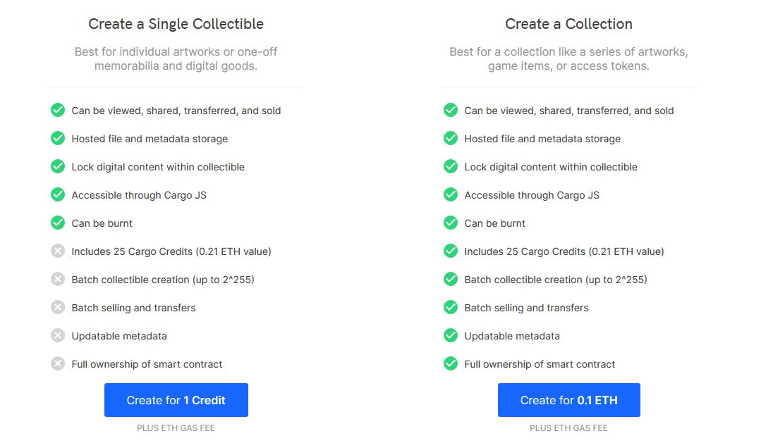 Cargo - Create Collectibles how to mint nfts