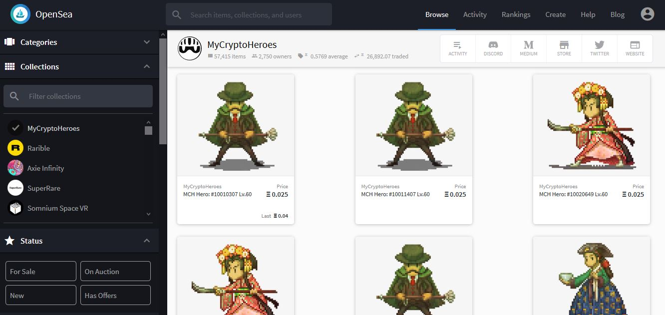 Top 5 nft art collections mycryptoheroes