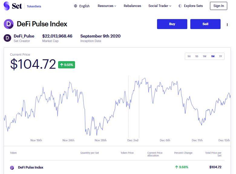 Token Sets - DeFi Pulse Index 1-Click DeFi investments
