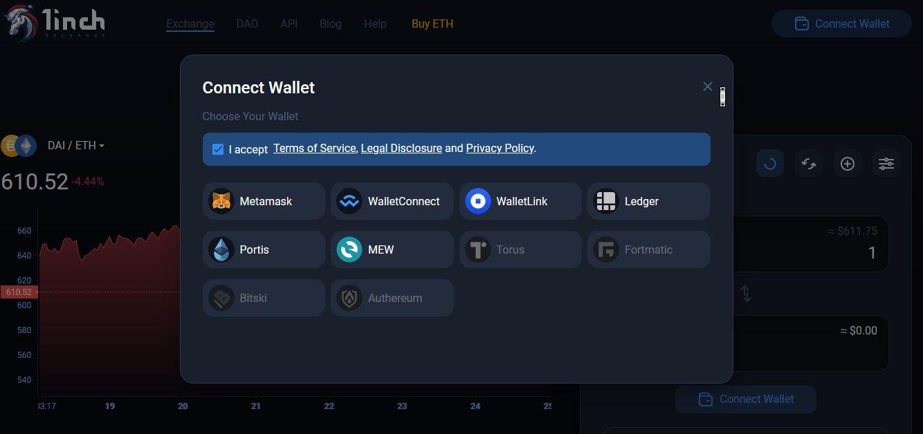 1inch.exchange - Connect Wallet 1inch token