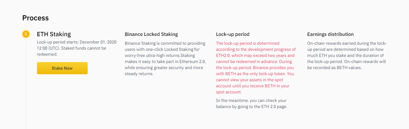ETH 2.0 Staking page on Binance