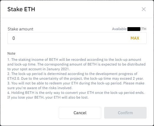 UI for selecting the amount of ETH to stake