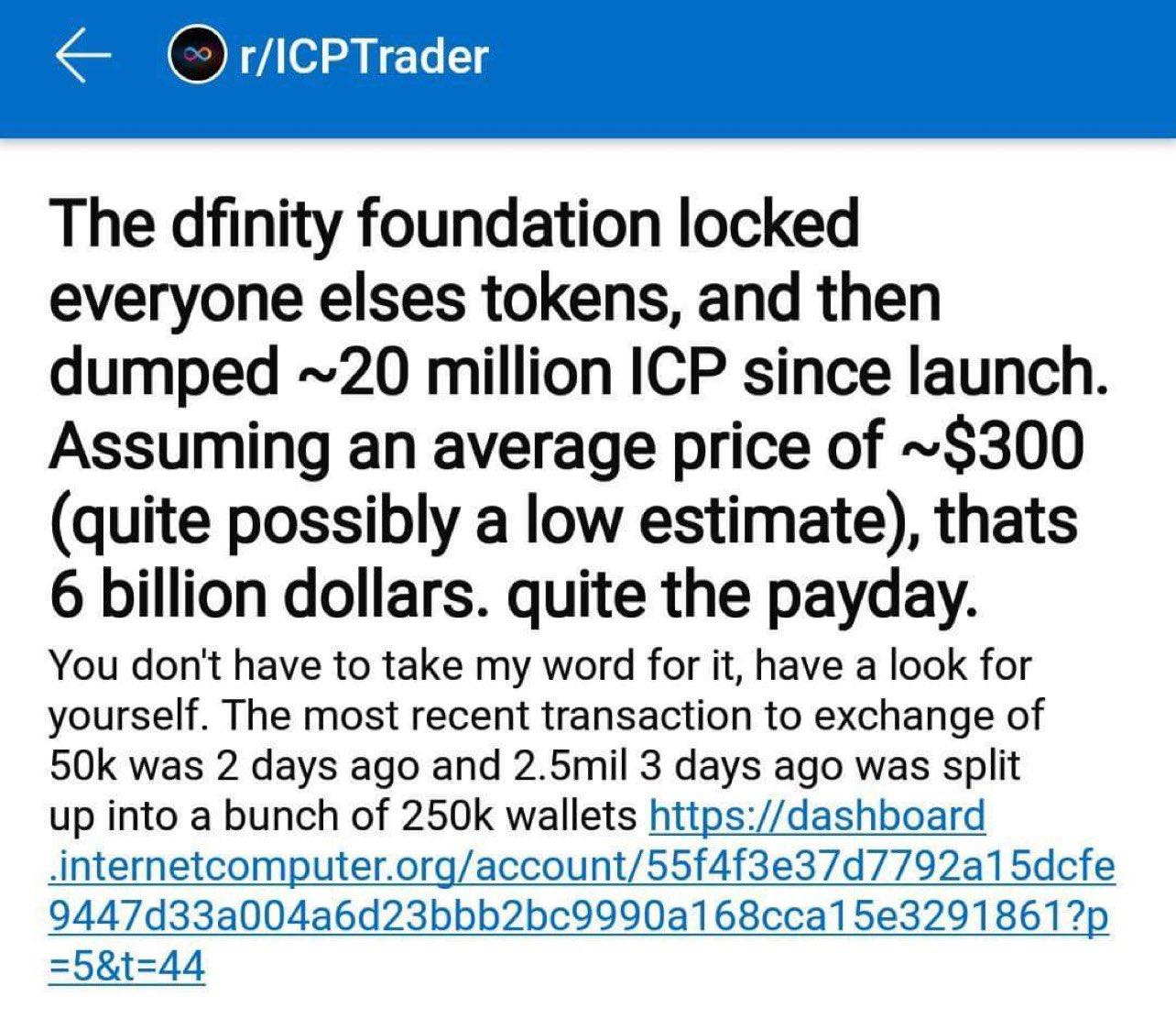 Reddit Post Alleging Dfinity Internet Computer Retail Dump