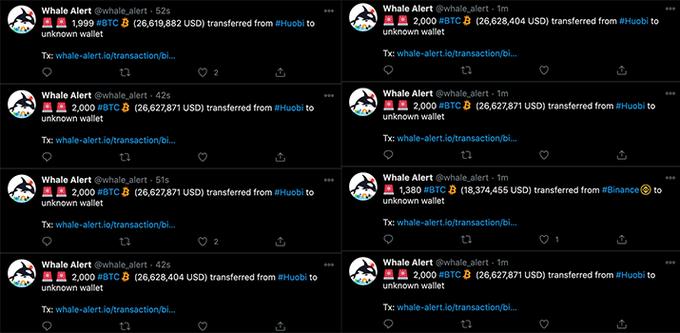 Huobi $500M Outflow Transactions - Whale Alert