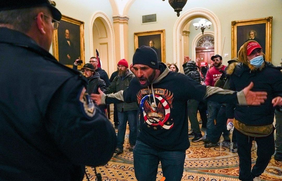 Protesters who broke inside the US Capitol were met by police task forces