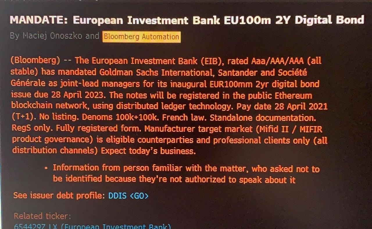 Europe Investment Bank Bond Issuance On Ethereum - Bloomberg