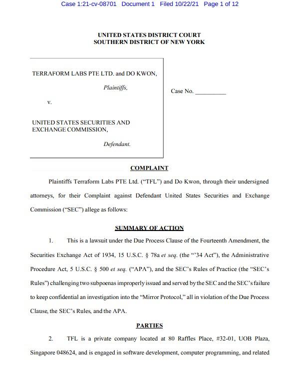 Terra Lawsuit Against SEC - Opening Page