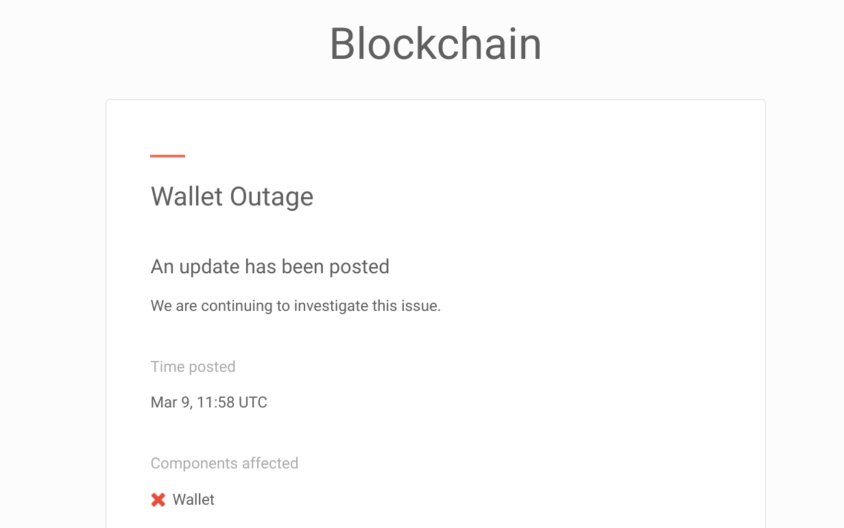 Email sent about wallet outage