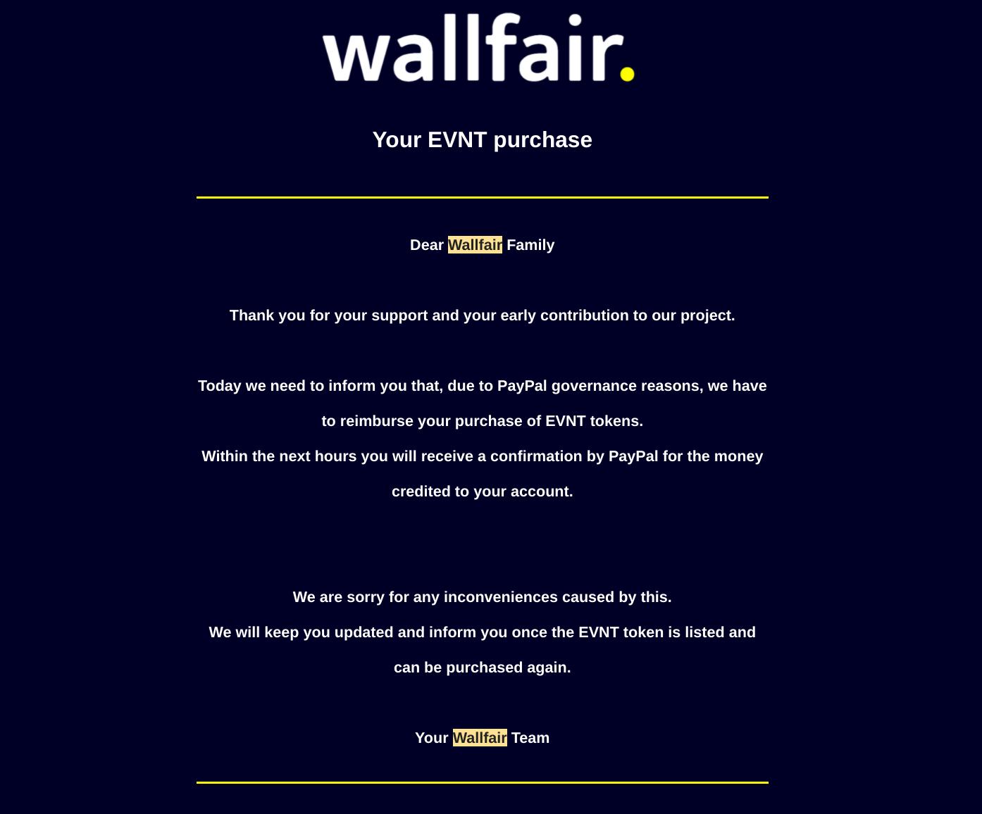 Wallfair crypto paypal issue