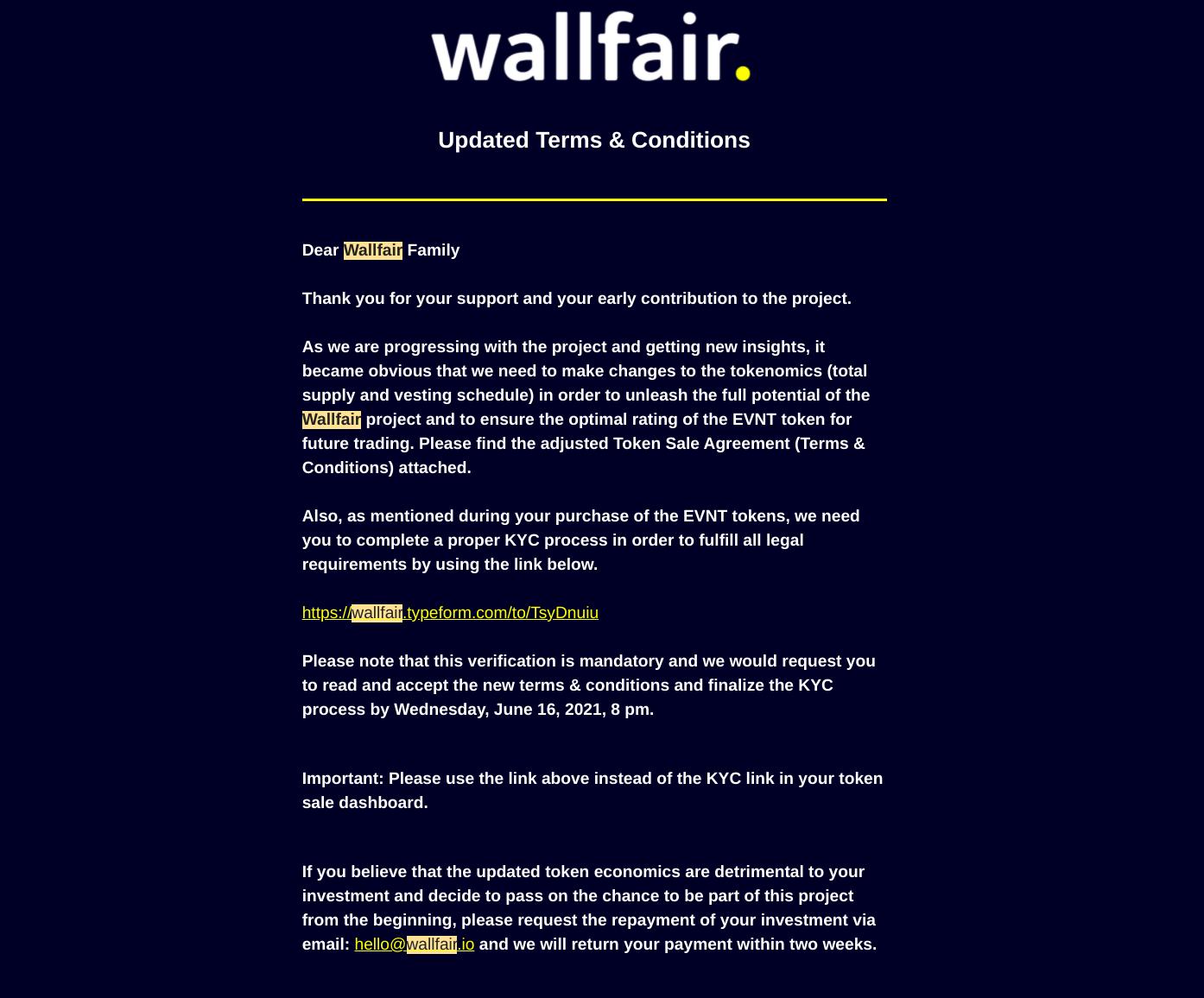 Wallfair crypto EVNT dilution