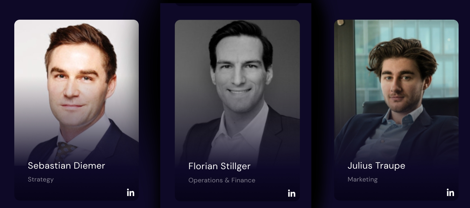 Wallfair Company board members, from l. t. r. Sebastian Diemer, Florian Stillger, Julius Taupe