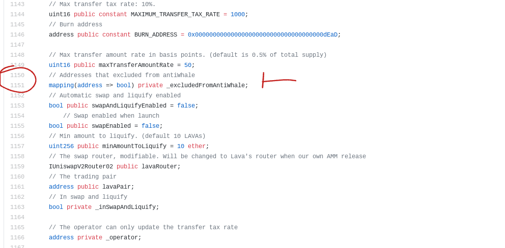 Lavacake finance: Code on the Github showing the exclusion of certain wallets from the Anti-Whale system