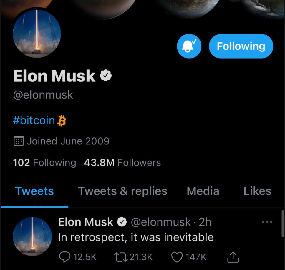 Elon Musk Crypto endorsement on Twitter