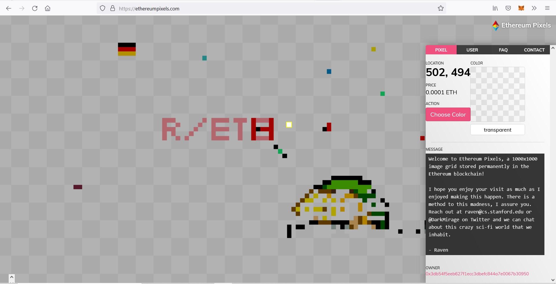 Ethereum NFT Ethereum Pixels