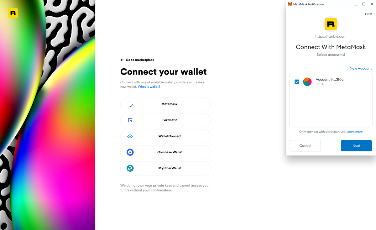 Rarible supporting a variety of Ethereum wallets