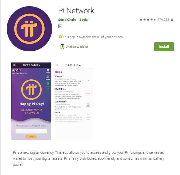 Pi Network App on the Google Playstore