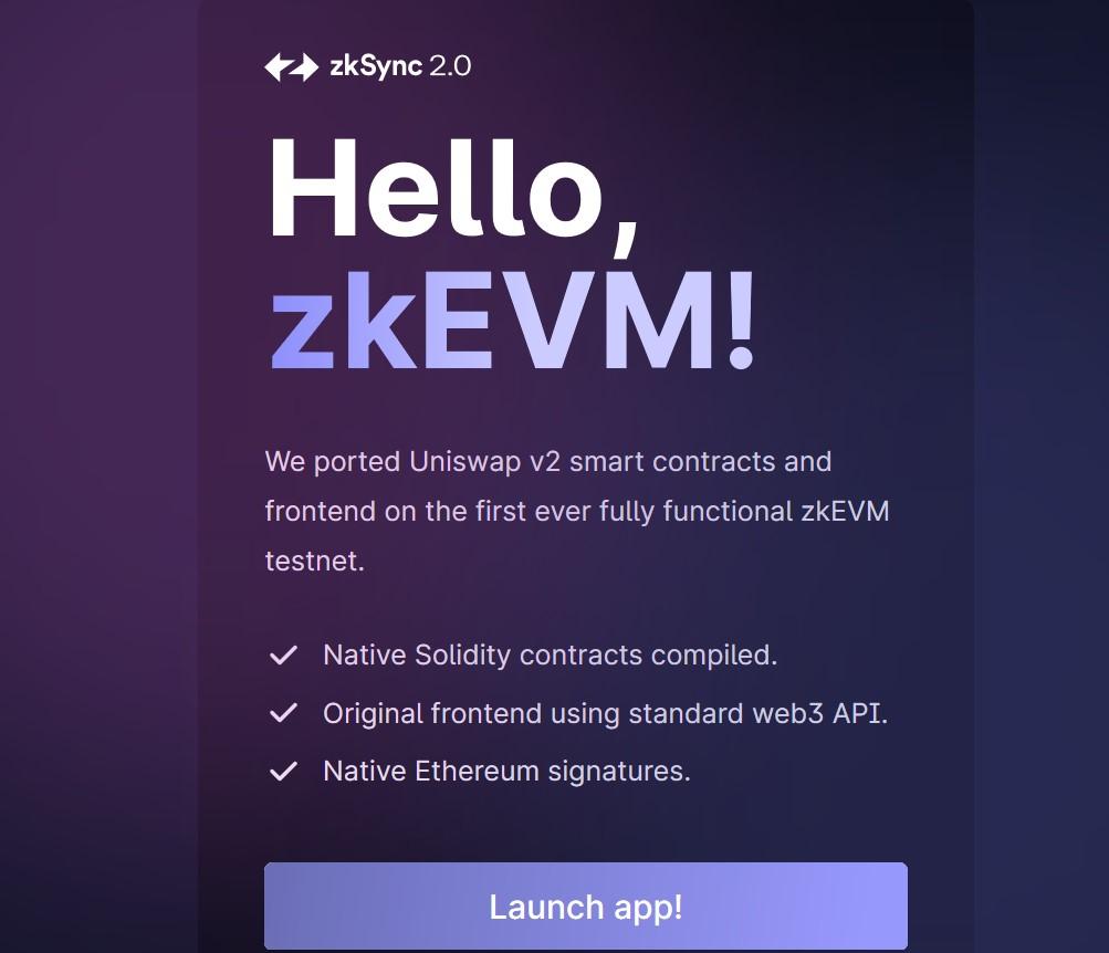 Uniswap on zkEVM - Main Page