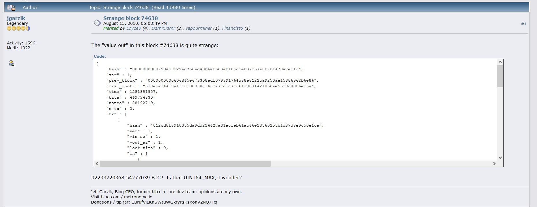 First Post Describing The Bitcoin 184B Bug - Bitcointalk Bitcoin immutability