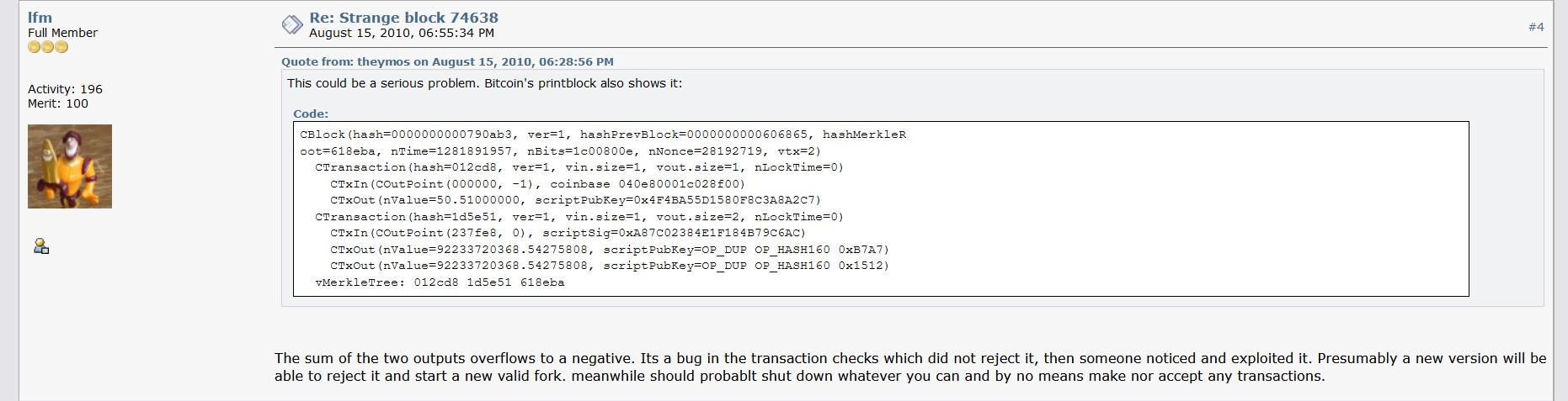 Description Of The Bitcoin 184B Bug - Bitcointalk Bitcoin immutability